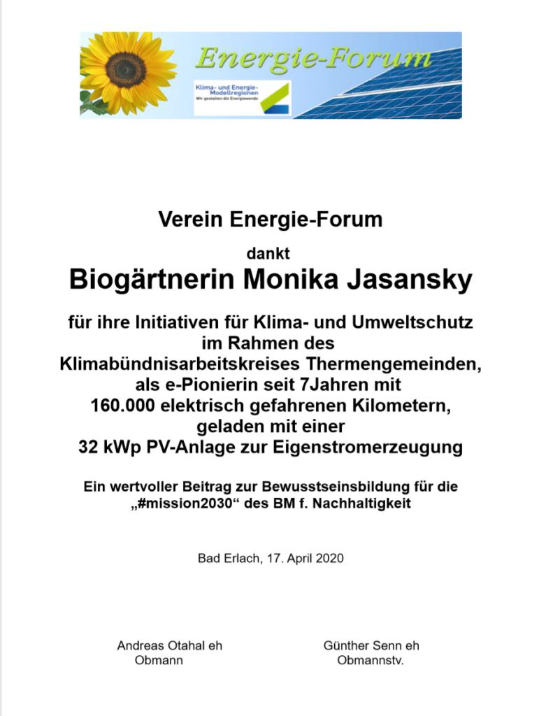 Urkunde Monika Jasansky